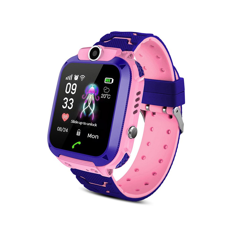 A28 Touch Screen Kids Smart Phone Watch Front-facing Camera LBS GPS Positioning - Ροζ-μωβ