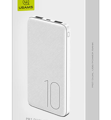 USAMS power bank PB31 10000mAh, 2x output, 2.1A, λευκό